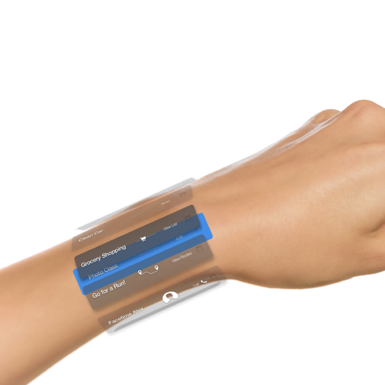 Compass registers itself on your hand and wrist. Schedules and tasks live around your wrist through your augmented view. This allows information to always be present but not interfere with day to day life.