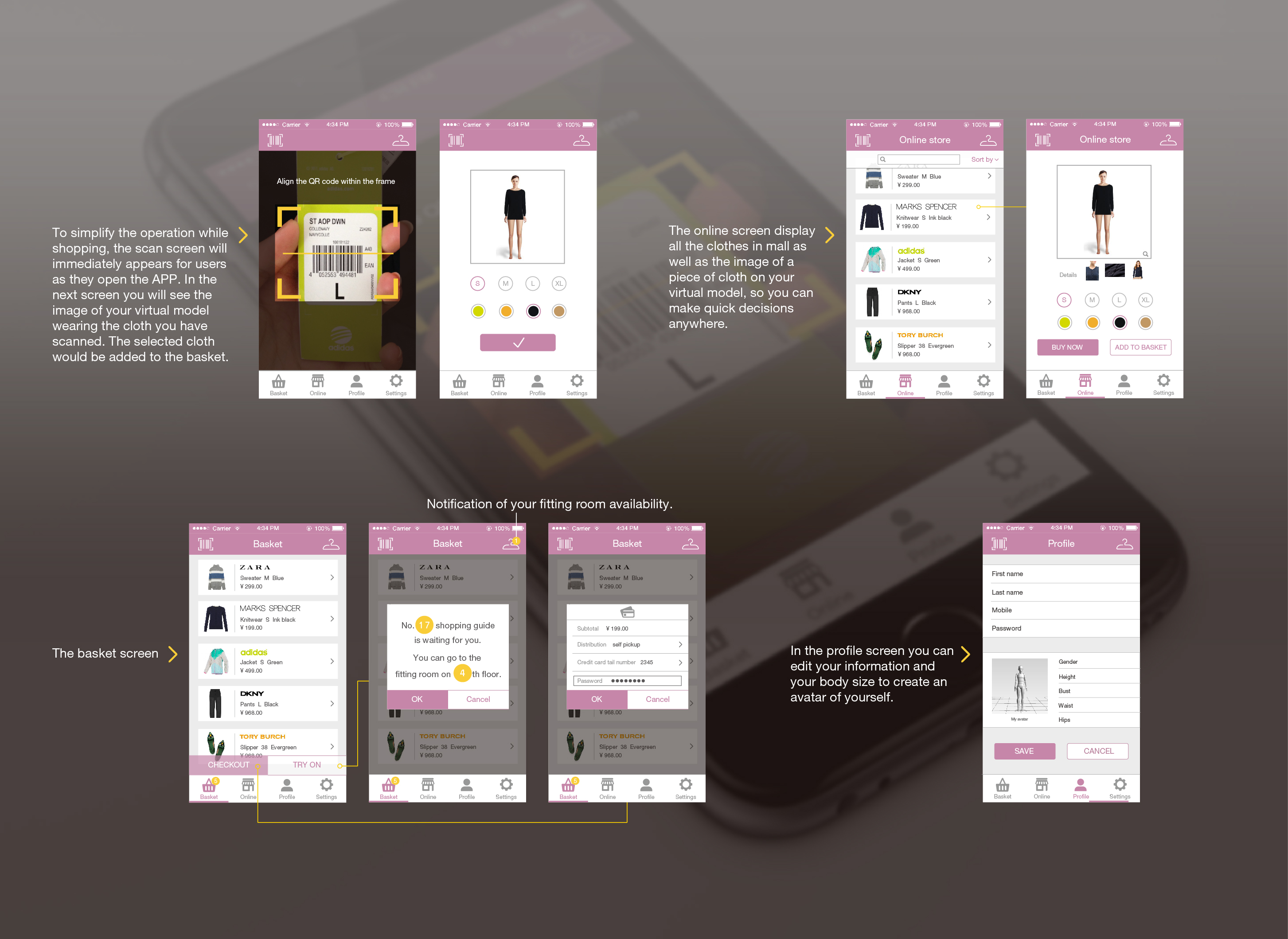 Project 2 ELEGA, Service and UI design making shopping  experience and try-on process enjoyable  and recreational,