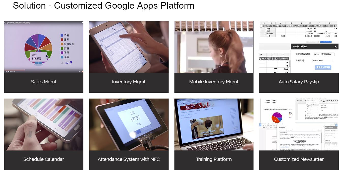 Build customized Google Apps platform for beauty industry to Increase their work efficiency as well as Google Partner 's value proposition