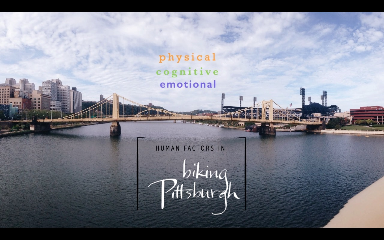 one still from a video highlighting human factors in biking around Pittsburgh