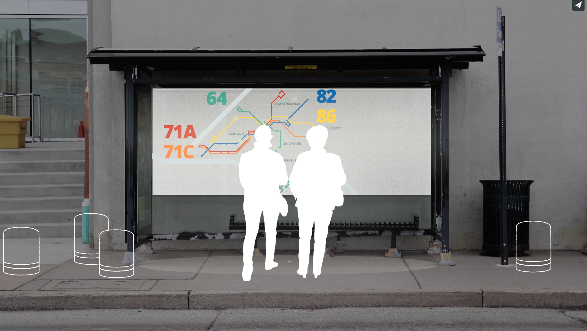 Interventions proposed to the bus stop to reduce the anxiety of the wait -- design ethnographic research was conducted and interventions focused on practical, implementable solutions. Additional Team: Saumya Kharbanda and Kate McLean