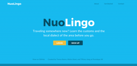 """Homepage of NuoLingo - """"Learn the customs and the local dialect of the area before you go."""""""